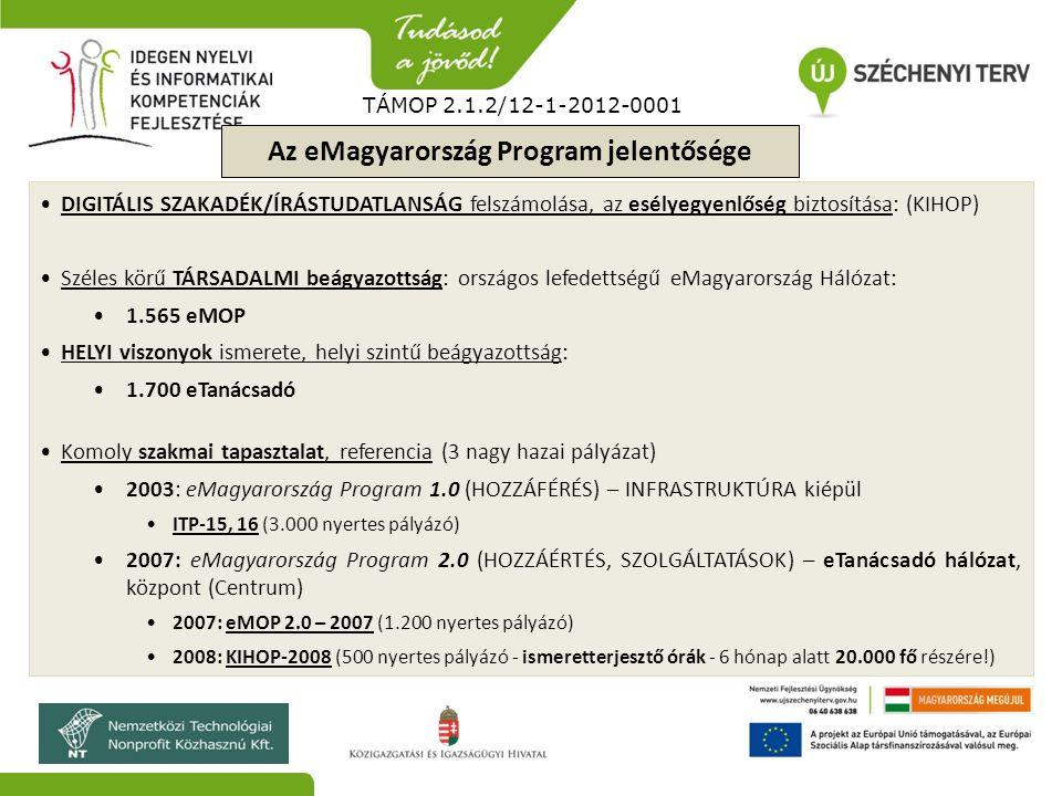 TÁMOP 2.1.2/12-1-2012-0001 Az eMagyarország Program jelentősége DIGITÁLIS SZAKADÉK/ÍRÁSTUDATLANSÁG felszámolása, az esélyegyenlőség biztosítása: (KIHO