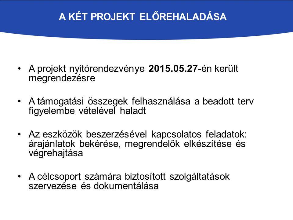 A KÉT PROJEKT ELŐREHALADÁSA A projekt nyitórendezvénye 2015.05.27-én került megrendezésre A támogatási összegek felhasználása a beadott terv figyelembe vételével haladt Az eszközök beszerzésével kapcsolatos feladatok: árajánlatok bekérése, megrendelők elkészítése és végrehajtása A célcsoport számára biztosított szolgáltatások szervezése és dokumentálása
