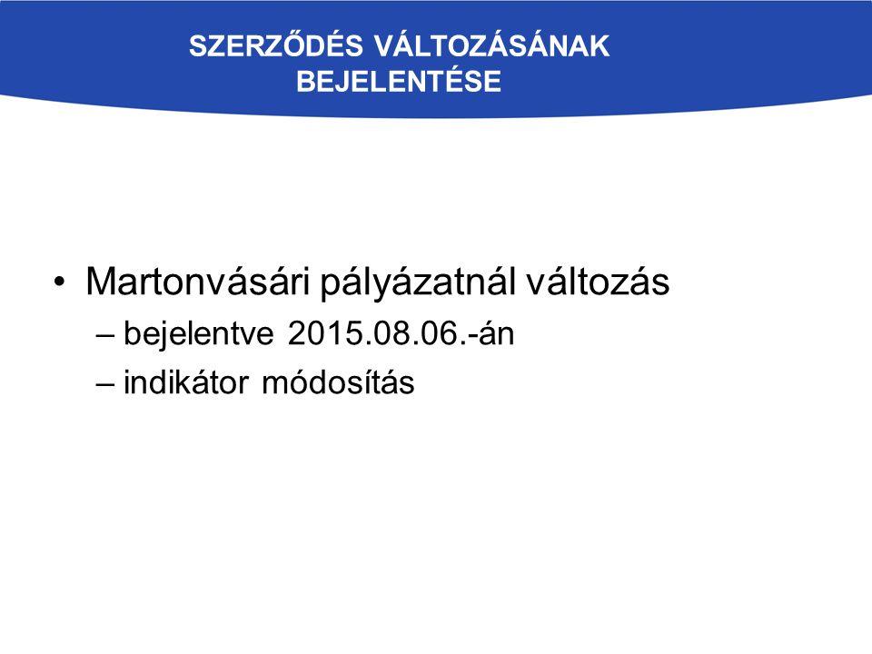 SZERZŐDÉS VÁLTOZÁSÁNAK BEJELENTÉSE Martonvásári pályázatnál változás –bejelentve 2015.08.06.-án –indikátor módosítás