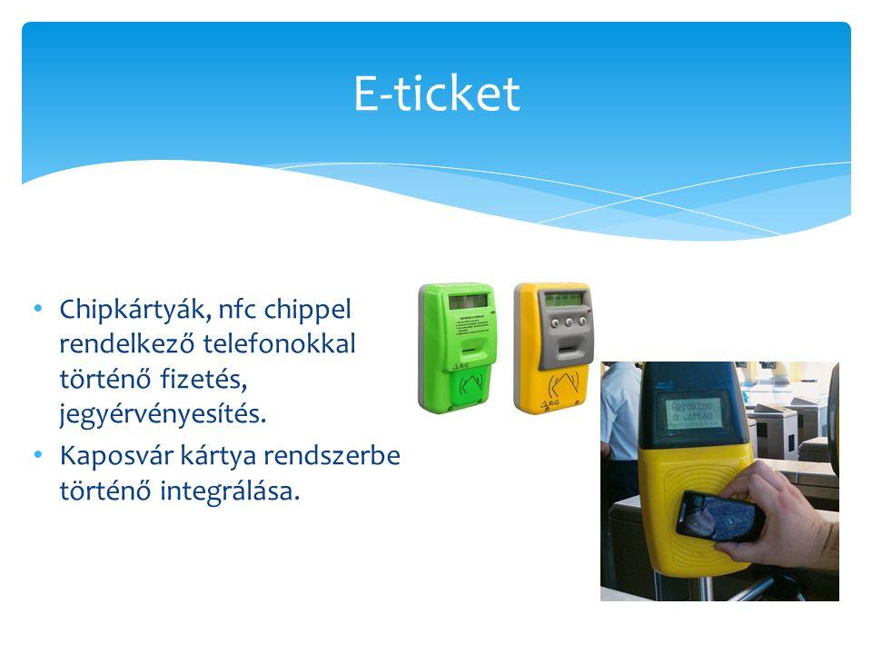 Chipkártyák, nfc chippel rendelkező telefonokkal történő fizetés, jegyérvényesítés.