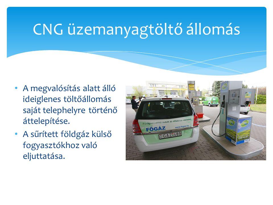 CNG üzemanyagtöltő állomás A megvalósítás alatt álló ideiglenes töltőállomás saját telephelyre történő áttelepítése.