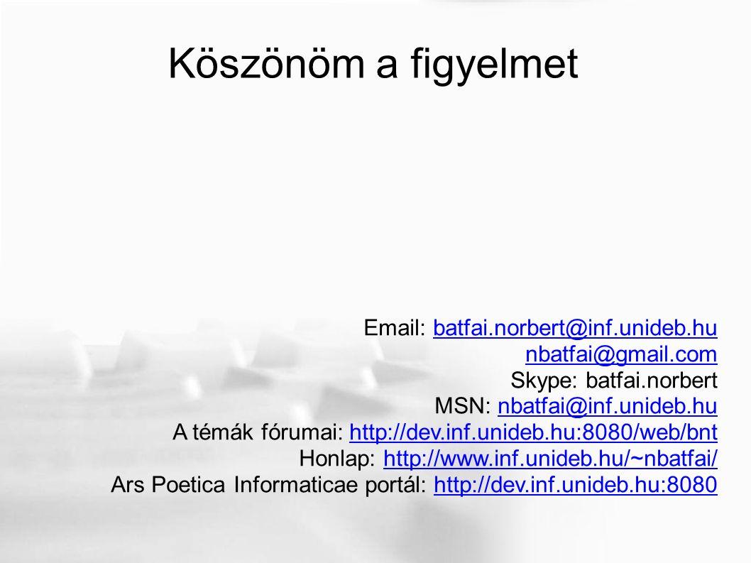 Köszönöm a figyelmet Email: batfai.norbert@inf.unideb.hubatfai.norbert@inf.unideb.hu nbatfai@gmail.com Skype: batfai.norbert MSN: nbatfai@inf.unideb.hunbatfai@inf.unideb.hu A témák fórumai: http://dev.inf.unideb.hu:8080/web/bnthttp://dev.inf.unideb.hu:8080/web/bnt Honlap: http://www.inf.unideb.hu/~nbatfai/http://www.inf.unideb.hu/~nbatfai/ Ars Poetica Informaticae portál: http://dev.inf.unideb.hu:8080http://dev.inf.unideb.hu:8080