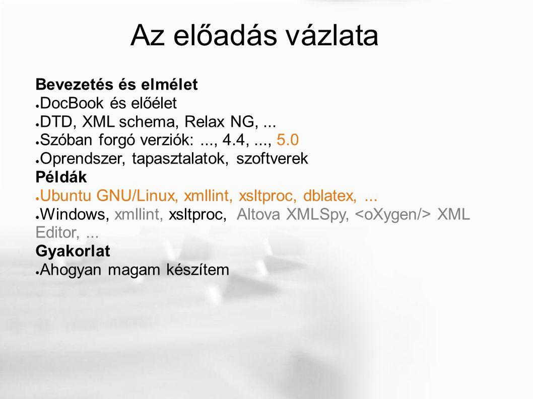 Az előadás vázlata Bevezetés és elmélet ● DocBook és előélet ● DTD, XML schema, Relax NG,...