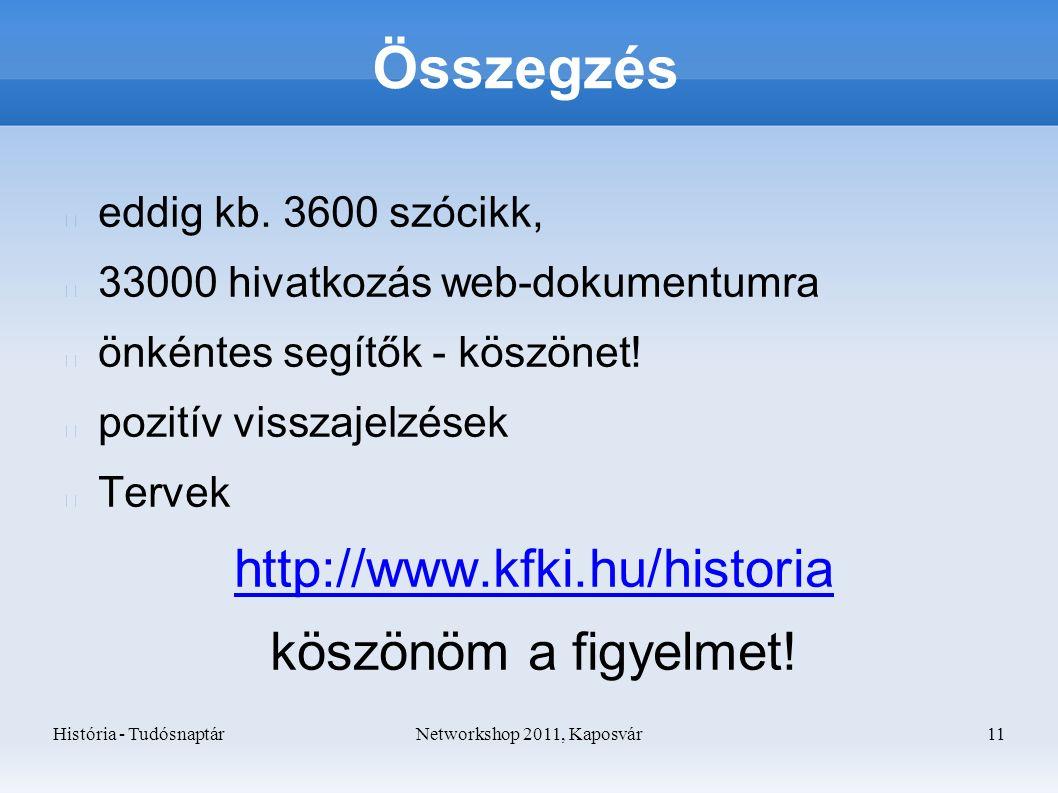 História - TudósnaptárNetworkshop 2011, Kaposvár 11 Összegzés eddig kb.