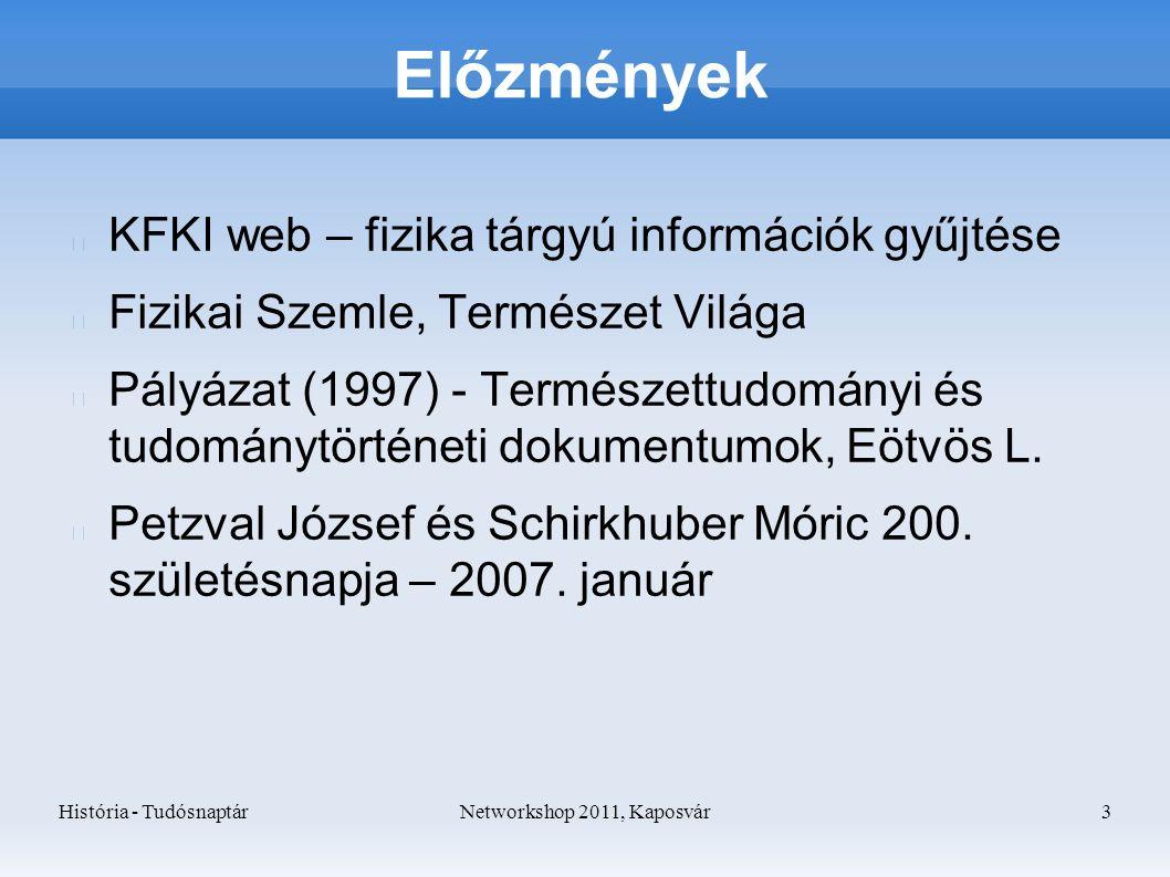 História - TudósnaptárNetworkshop 2011, Kaposvár 3 Előzmények KFKI web – fizika tárgyú információk gyűjtése Fizikai Szemle, Természet Világa Pályázat (1997) - Természettudományi és tudománytörténeti dokumentumok, Eötvös L.