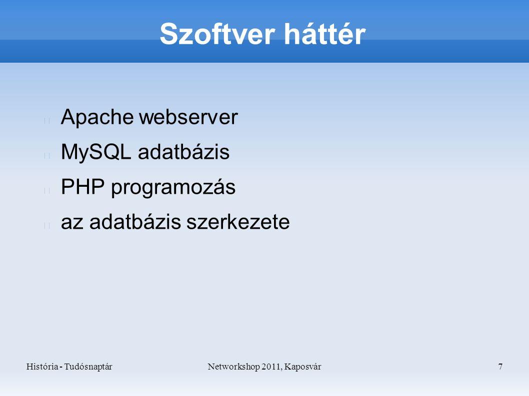 História - TudósnaptárNetworkshop 2011, Kaposvár 7 Szoftver háttér Apache webserver MySQL adatbázis PHP programozás az adatbázis szerkezete