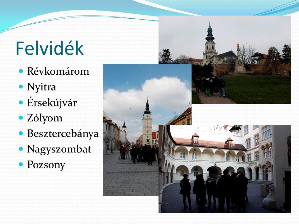 Felvidék Révkomárom Nyitra É rsekújvár Zólyom Besztercebánya Nagyszombat Pozsony