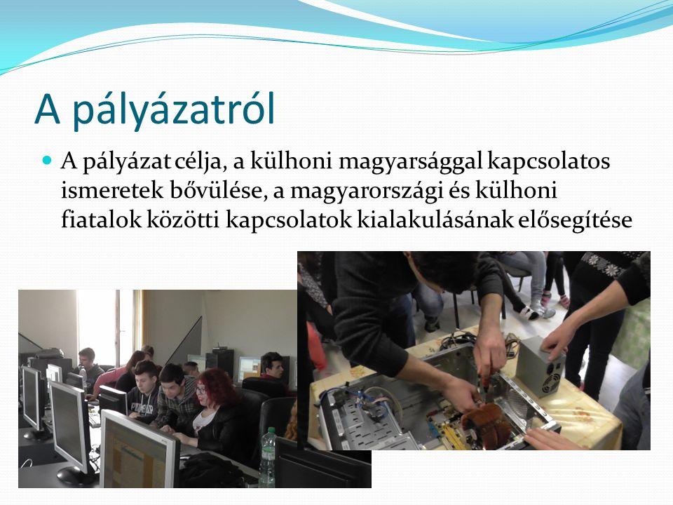 A pályázatról A pályázat célja, a külhoni magyarsággal kapcsolatos ismeretek bővülése, a magyarországi és külhoni fiatalok közötti kapcsolatok kialakulásának elősegítése