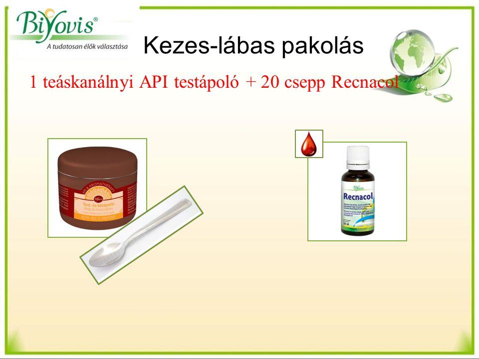 Kezes-lábas pakolás 1 teáskanálnyi API testápoló + 20 csepp Recnacol