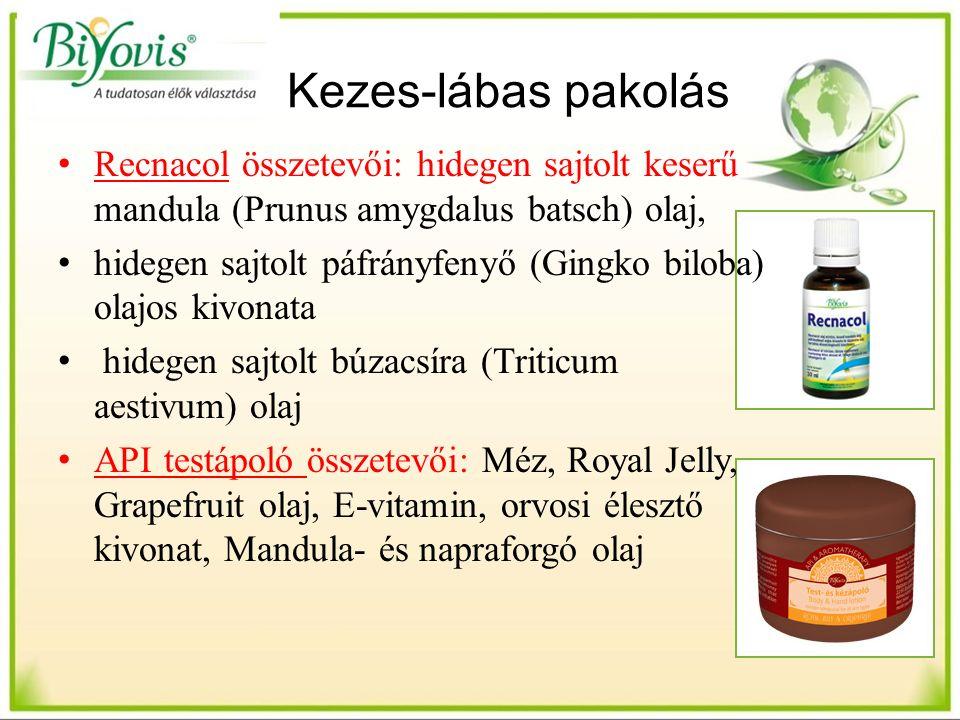 Kezes-lábas pakolás Recnacol összetevői: hidegen sajtolt keserű mandula (Prunus amygdalus batsch) olaj, hidegen sajtolt páfrányfenyő (Gingko biloba) olajos kivonata hidegen sajtolt búzacsíra (Triticum aestivum) olaj API testápoló összetevői: Méz, Royal Jelly, Grapefruit olaj, E-vitamin, orvosi élesztő kivonat, Mandula- és napraforgó olaj