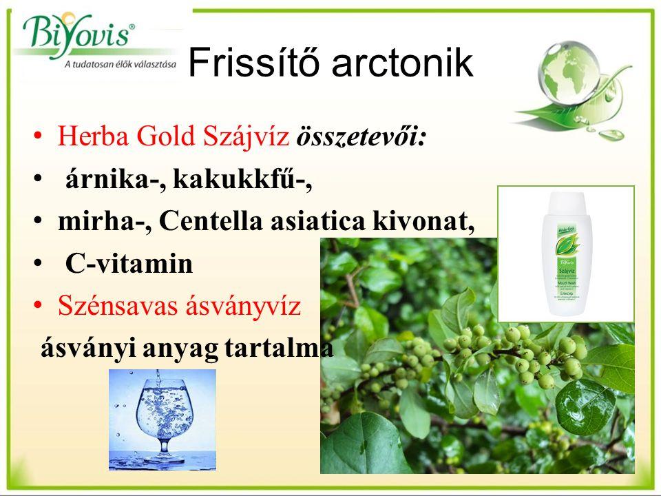Frissítő arctonik Herba Gold Szájvíz összetevői: árnika-, kakukkfű-, mirha-, Centella asiatica kivonat, C-vitamin Szénsavas ásványvíz ásványi anyag tartalma