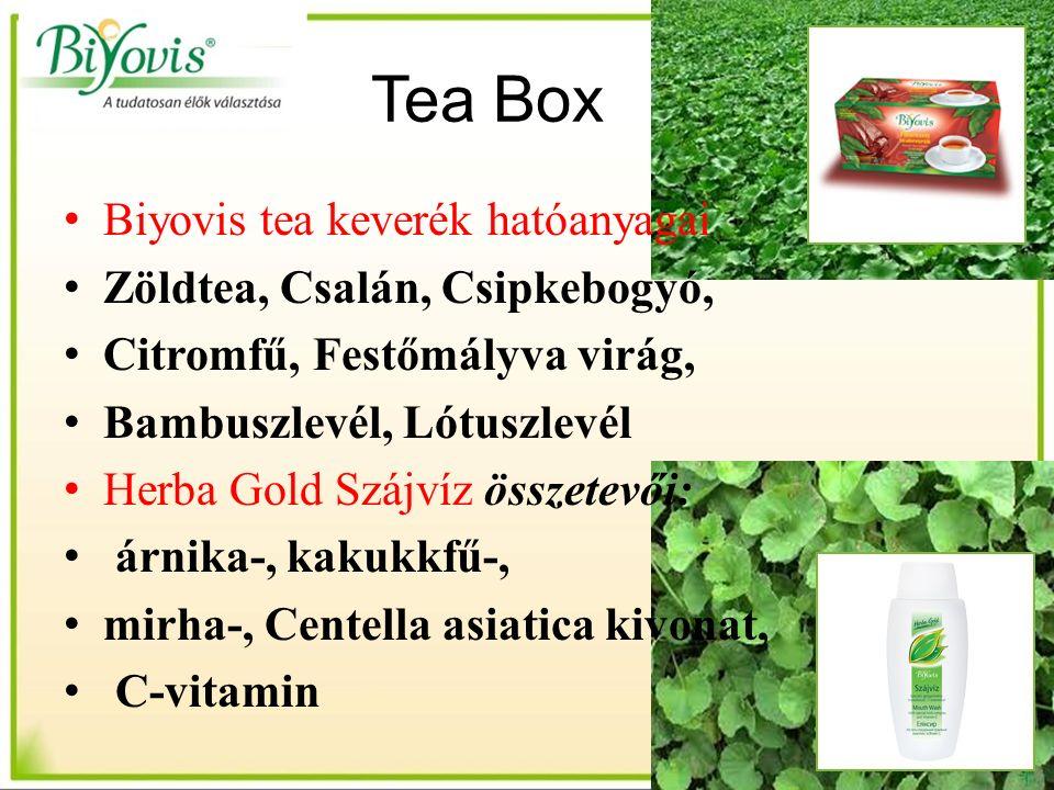 Tea Box Biyovis tea keverék hatóanyagai Zöldtea, Csalán, Csipkebogyó, Citromfű, Festőmályva virág, Bambuszlevél, Lótuszlevél Herba Gold Szájvíz összetevői: árnika-, kakukkfű-, mirha-, Centella asiatica kivonat, C-vitamin