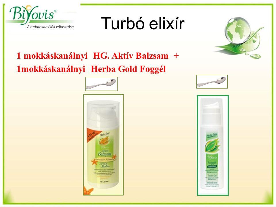 Turbó elixír 1 mokkáskanálnyi HG. Aktív Balzsam + 1mokkáskanálnyi Herba Gold Foggél