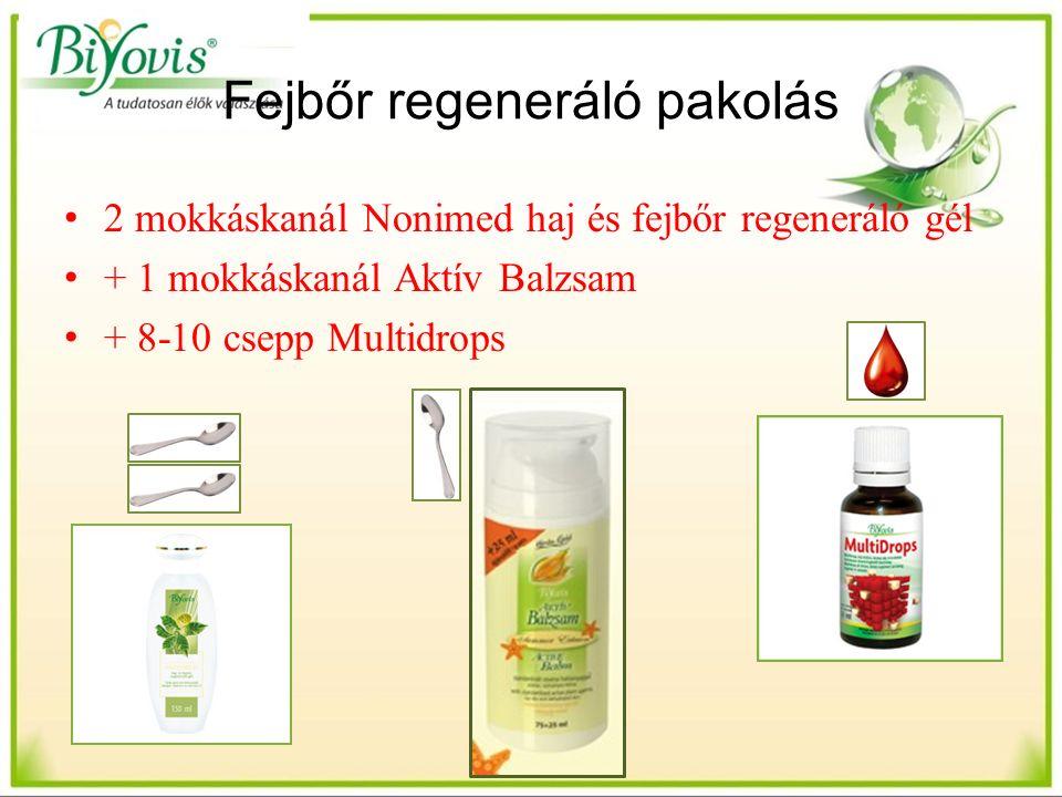 Fejbőr regeneráló pakolás 2 mokkáskanál Nonimed haj és fejbőr regeneráló gél + 1 mokkáskanál Aktív Balzsam + 8-10 csepp Multidrops