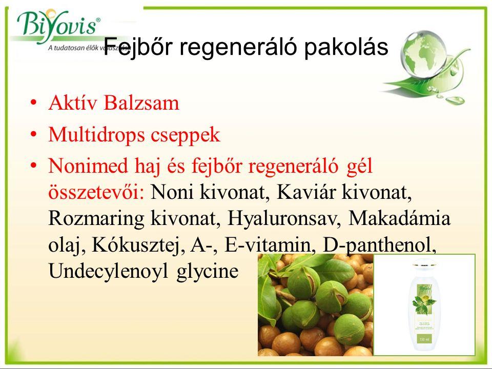 Fejbőr regeneráló pakolás Aktív Balzsam Multidrops cseppek Nonimed haj és fejbőr regeneráló gél összetevői: Noni kivonat, Kaviár kivonat, Rozmaring kivonat, Hyaluronsav, Makadámia olaj, Kókusztej, A-, E-vitamin, D-panthenol, Undecylenoyl glycine