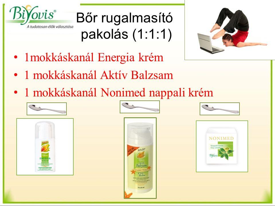 Bőr rugalmasító pakolás (1:1:1) 1mokkáskanál Energia krém 1 mokkáskanál Aktív Balzsam 1 mokkáskanál Nonimed nappali krém