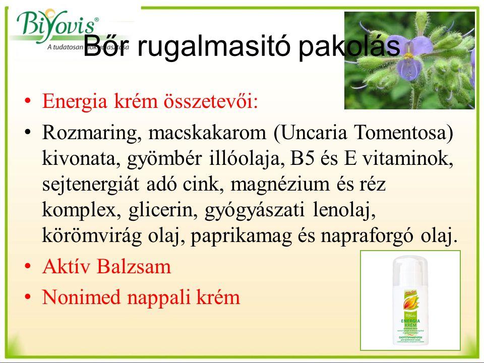 Bőr rugalmasitó pakolás Energia krém összetevői: Rozmaring, macskakarom (Uncaria Tomentosa) kivonata, gyömbér illóolaja, B5 és E vitaminok, sejtenergiát adó cink, magnézium és réz komplex, glicerin, gyógyászati lenolaj, körömvirág olaj, paprikamag és napraforgó olaj.