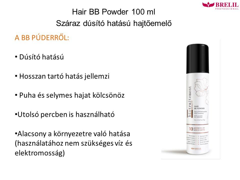 Hair BB Powder 100 ml Száraz dúsító hatású hajtőemelő A BB PÚDERRŐL: Dúsító hatású Hosszan tartó hatás jellemzi Puha és selymes hajat kölcsönöz Utolsó percben is használható Alacsony a környezetre való hatása (használatához nem szükséges víz és elektromosság)