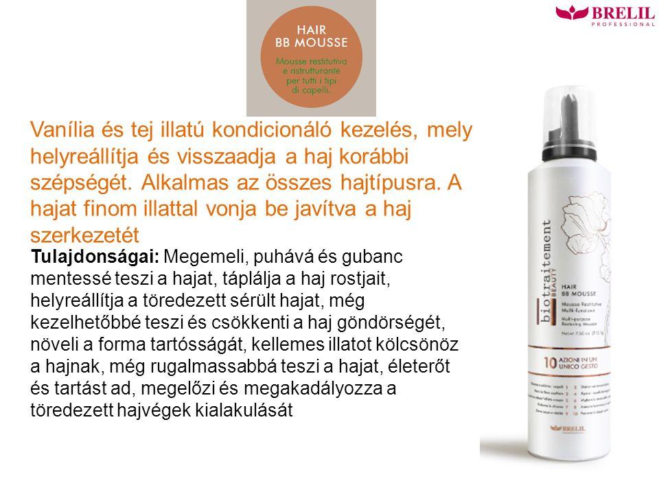 Vanília és tej illatú kondicionáló kezelés, mely helyreállítja és visszaadja a haj korábbi szépségét.