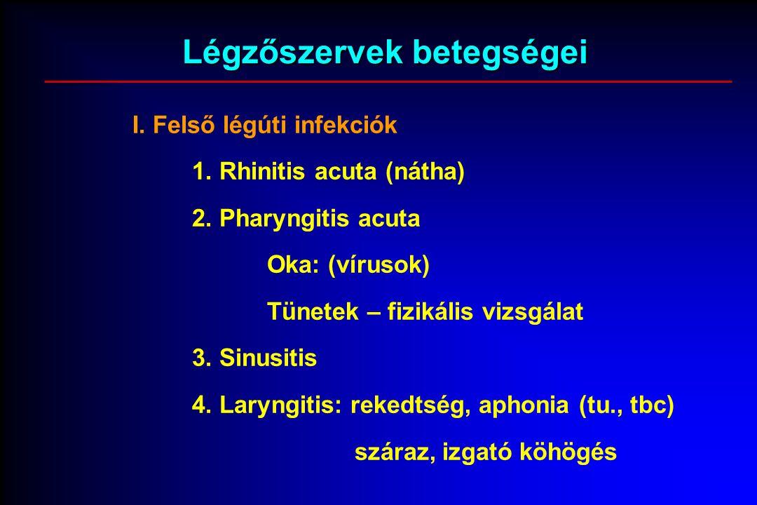 I. Felső légúti infekciók 1. Rhinitis acuta (nátha) 2.