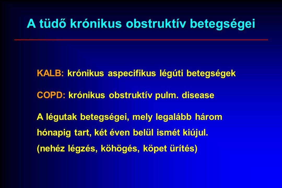A tüdő krónikus obstruktív betegségei KALB: krónikus aspecifikus légúti betegségek COPD: krónikus obstruktív pulm.
