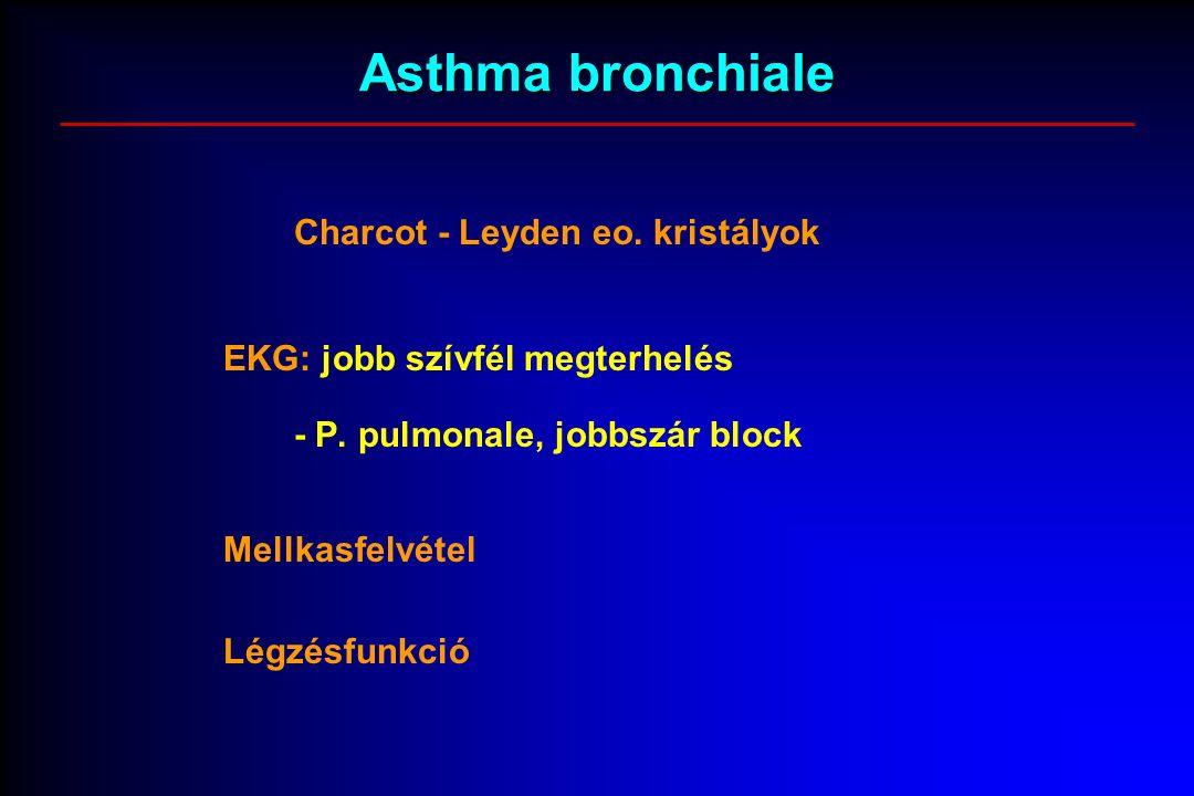Asthma bronchiale Charcot - Leyden eo. kristályok EKG: jobb szívfél megterhelés - P.