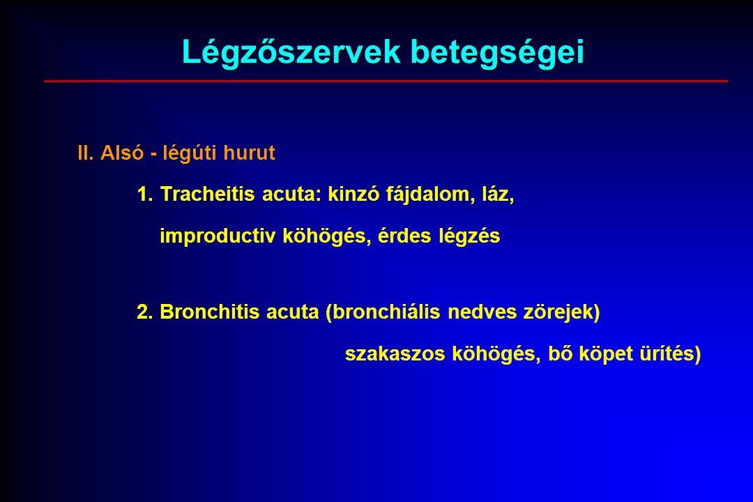 Légzőszervek betegségei II. Alsó - légúti hurut 1.
