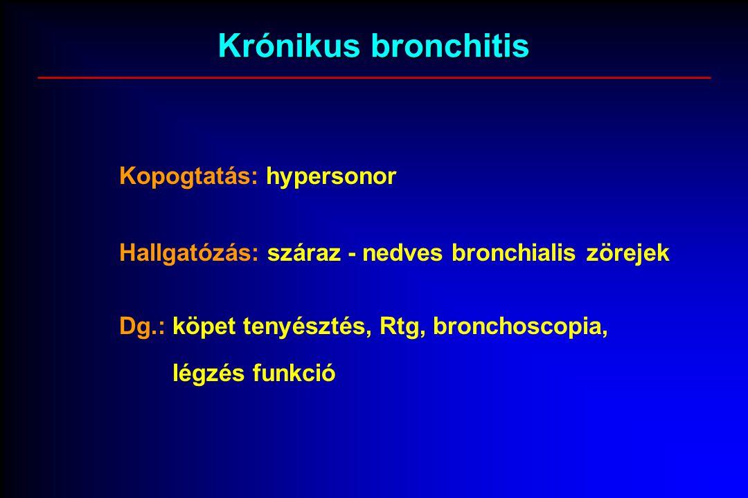 Krónikus bronchitis Kopogtatás: hypersonor Hallgatózás: száraz - nedves bronchialis zörejek Dg.: köpet tenyésztés, Rtg, bronchoscopia, légzés funkció