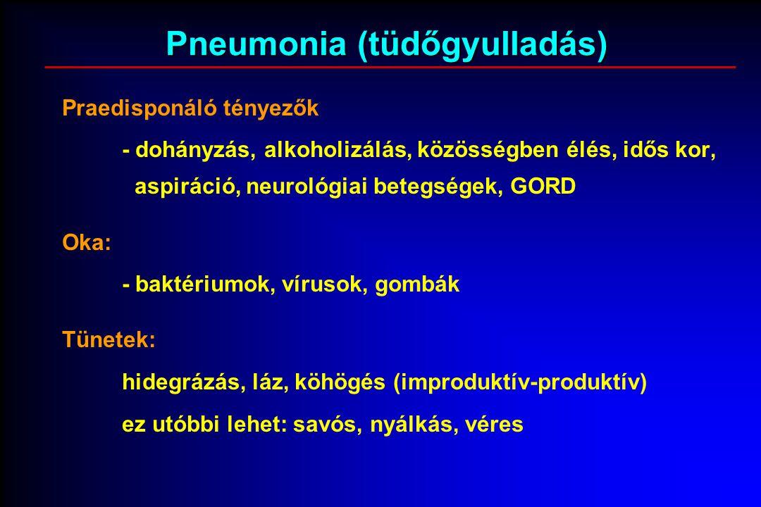 Pneumonia (tüdőgyulladás) Praedisponáló tényezők - dohányzás, alkoholizálás, közösségben élés, idős kor, aspiráció, neurológiai betegségek, GORD Oka: - baktériumok, vírusok, gombák Tünetek: hidegrázás, láz, köhögés (improduktív-produktív) ez utóbbi lehet: savós, nyálkás, véres