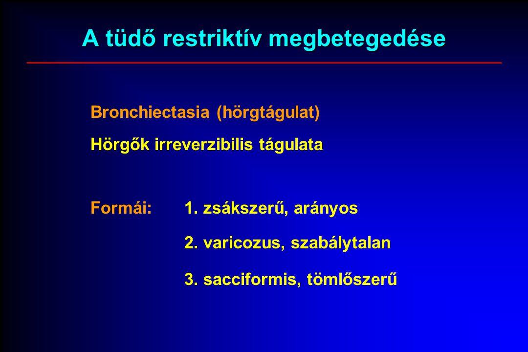 A tüdő restriktív megbetegedése Bronchiectasia (hörgtágulat) Hörgők irreverzibilis tágulata Formái:1.