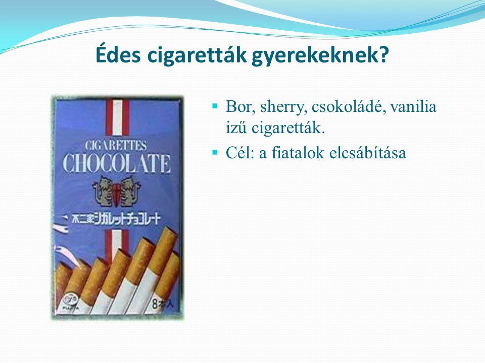 Édes cigaretták gyerekeknek.  Bor, sherry, csokoládé, vanilia izű cigaretták.