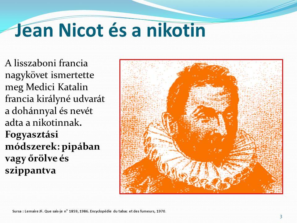 Jean Nicot és a nikotin 3 A lisszaboni francia nagykövet ismertette meg Medici Katalin francia királyné udvarát a dohánnyal és nevét adta a nikotinnak.