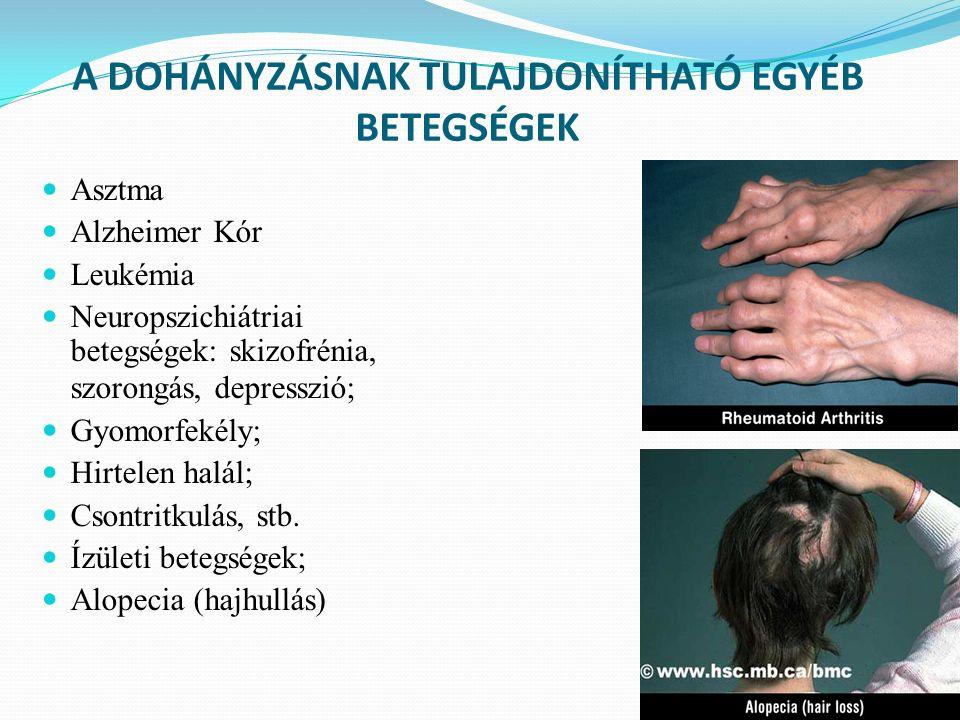 A DOHÁNYZÁSNAK TULAJDONÍTHATÓ EGYÉB BETEGSÉGEK Asztma Alzheimer Kór Leukémia Neuropszichiátriai betegségek: skizofrénia, szorongás, depresszió; Gyomorfekély; Hirtelen halál; Csontritkulás, stb.