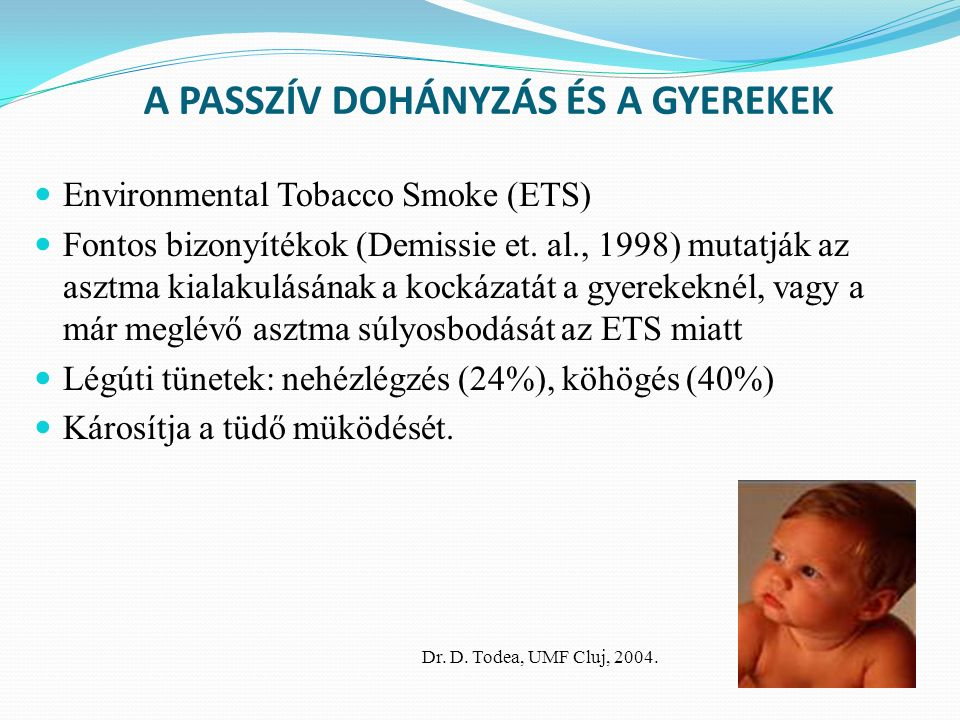 A PASSZÍV DOHÁNYZÁS ÉS A GYEREKEK Environmental Tobacco Smoke (ETS) Fontos bizonyítékok (Demissie et.