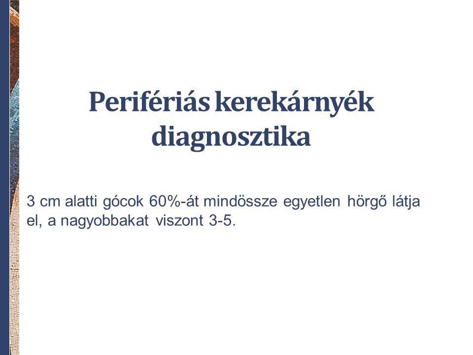 Perifériás kerekárnyék diagnosztika 3 cm alatti gócok 60%-át mindössze egyetlen hörgő látja el, a nagyobbakat viszont 3-5.