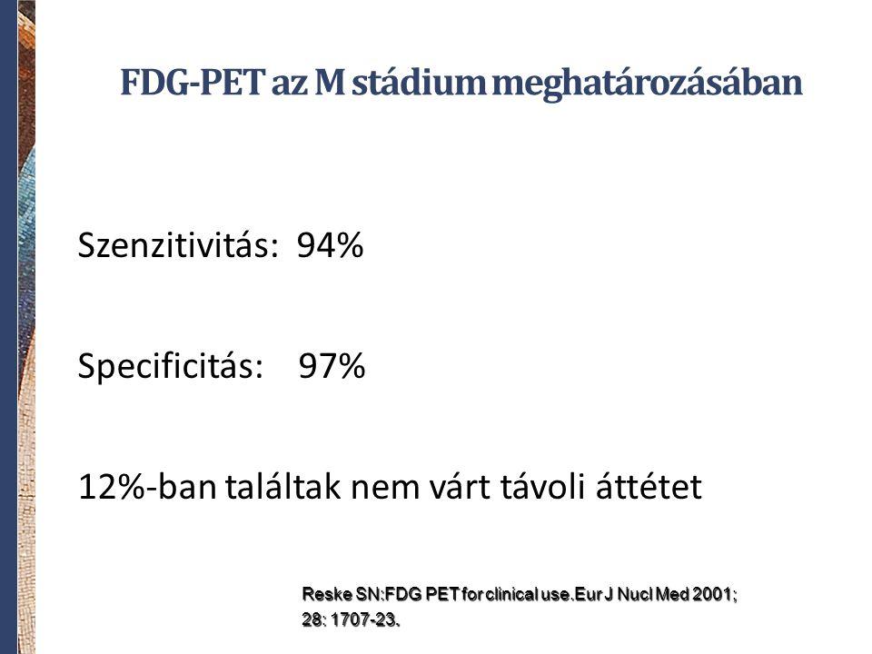 FDG-PET az M stádium meghatározásában Szenzitivitás: 94% Specificitás: 97% 12%-ban találtak nem várt távoli áttétet Reske SN:FDG PET for clinical use.Eur J Nucl Med 2001; 28: 1707-23.