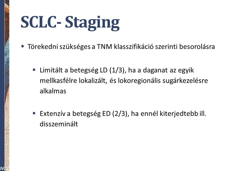 SCLC- Staging  Törekedni szükséges a TNM klasszifikáció szerinti besorolásra  Limitált a betegség LD (1/3), ha a daganat az egyik mellkasfélre lokalizált, és lokoregionális sugárkezelésre alkalmas  Extenzív a betegség ED (2/3), ha ennél kiterjedtebb ill.
