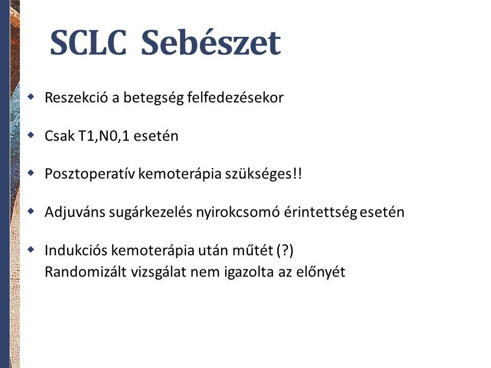 SCLC Sebészet  Reszekció a betegség felfedezésekor  Csak T1,N0,1 esetén  Posztoperatív kemoterápia szükséges!!  Adjuváns sugárkezelés nyirokcsomó