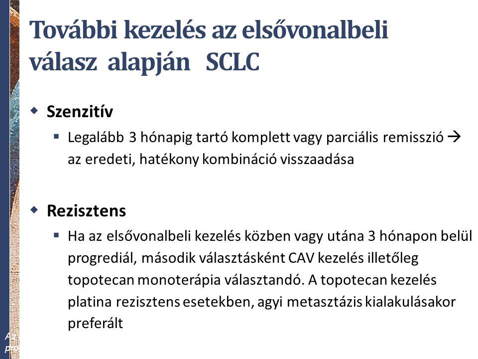 További kezelés az elsővonalbeli válasz alapján SCLC  Szenzitív  Legalább 3 hónapig tartó komplett vagy parciális remisszió  az eredeti, hatékony k