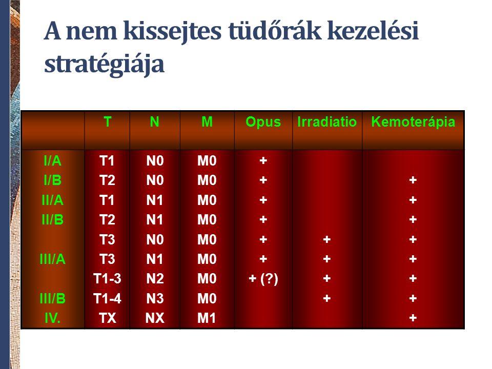 A nem kissejtes tüdőrák kezelési stratégiája TNMOpusIrradiatioKemoterápia I/A I/B II/A II/B III/A III/B IV. T1 T2 T1 T2 T3 T1-3 T1-4 TX N0 N1 N0 N1 N2
