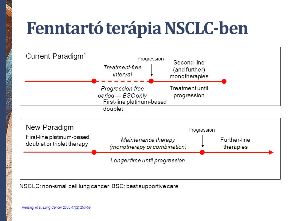 Fenntartó terápia NSCLC-ben First-line platinum-based doublet or triplet therapy Longer time until progression Further-line therapies New Paradigm First-line platinum-based doublet Progression-free period — BSC only Second-line (and further) monotherapies Current Paradigm 1 Progression Treatment until progression Progression Treatment-free interval Maintenance therapy (monotherapy or combination) NSCLC: non-small cell lung cancer; BSC: best supportive care Hensing et al.