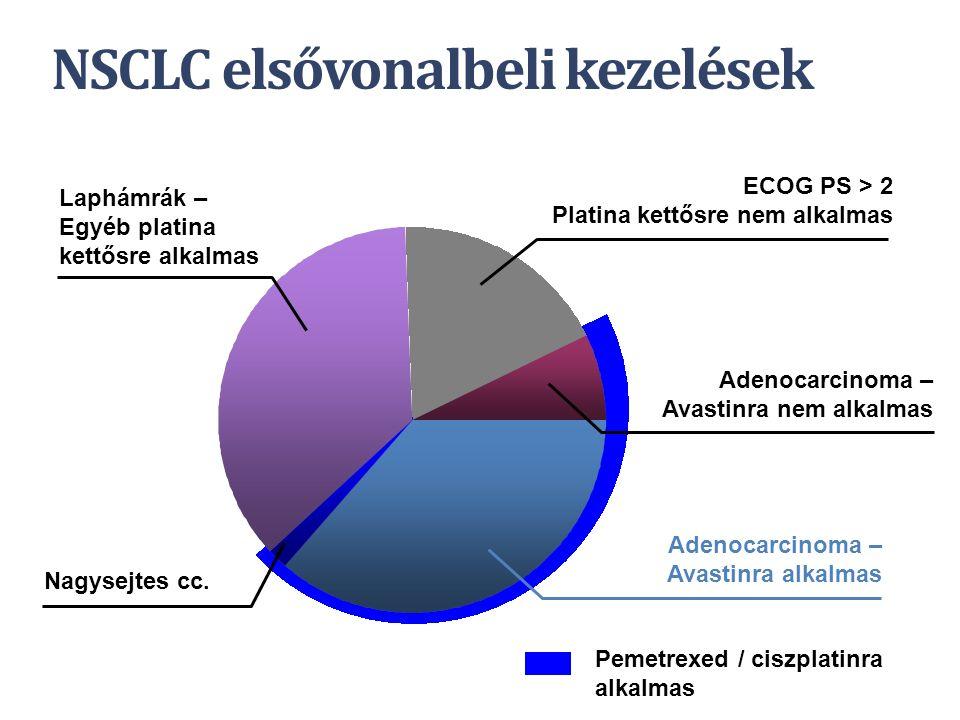 NSCLC elsővonalbeli kezelések Adenocarcinoma – Avastinra alkalmas Adenocarcinoma – Avastinra nem alkalmas Nagysejtes cc. Laphámrák – Egyéb platina ket