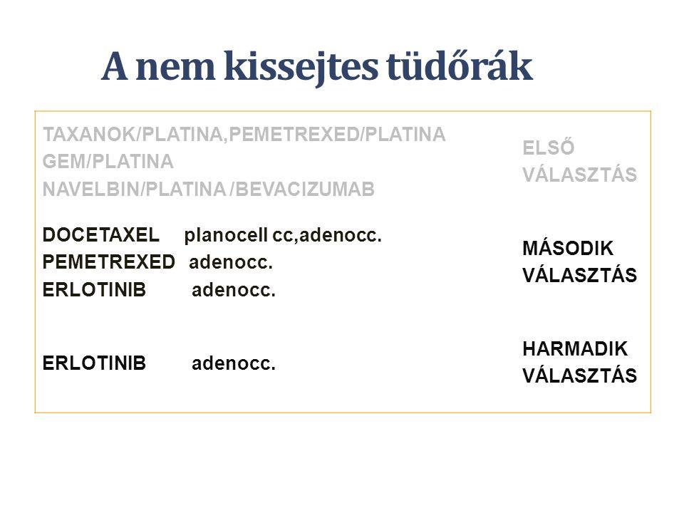 A nem kissejtes tüdőrák TAXANOK/PLATINA,PEMETREXED/PLATINA GEM/PLATINA NAVELBIN/PLATINA /BEVACIZUMAB ELSŐ VÁLASZTÁS DOCETAXEL planocell cc,adenocc. PE