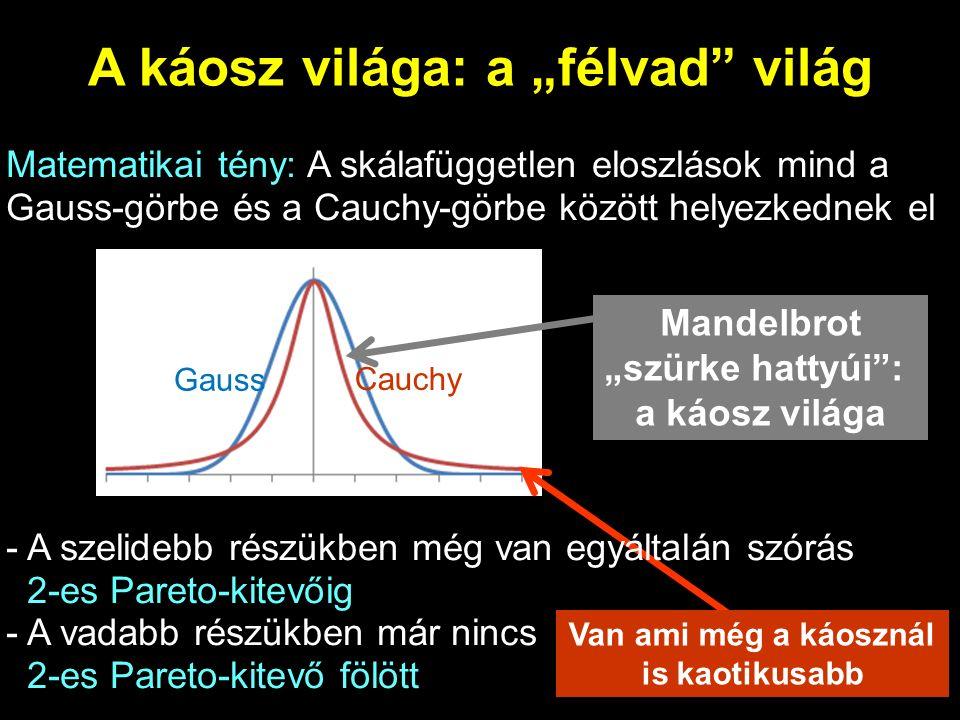 """A káosz világa: a """"félvad világ Matematikai tény: A skálafüggetlen eloszlások mind a Gauss-görbe és a Cauchy-görbe között helyezkednek el - A szelidebb részükben még van egyáltalán szórás 2-es Pareto-kitevőig - A vadabb részükben már nincs 2-es Pareto-kitevő fölött Gauss Cauchy Mandelbrot """"szürke hattyúi : a káosz világa Van ami még a káosznál is kaotikusabb"""