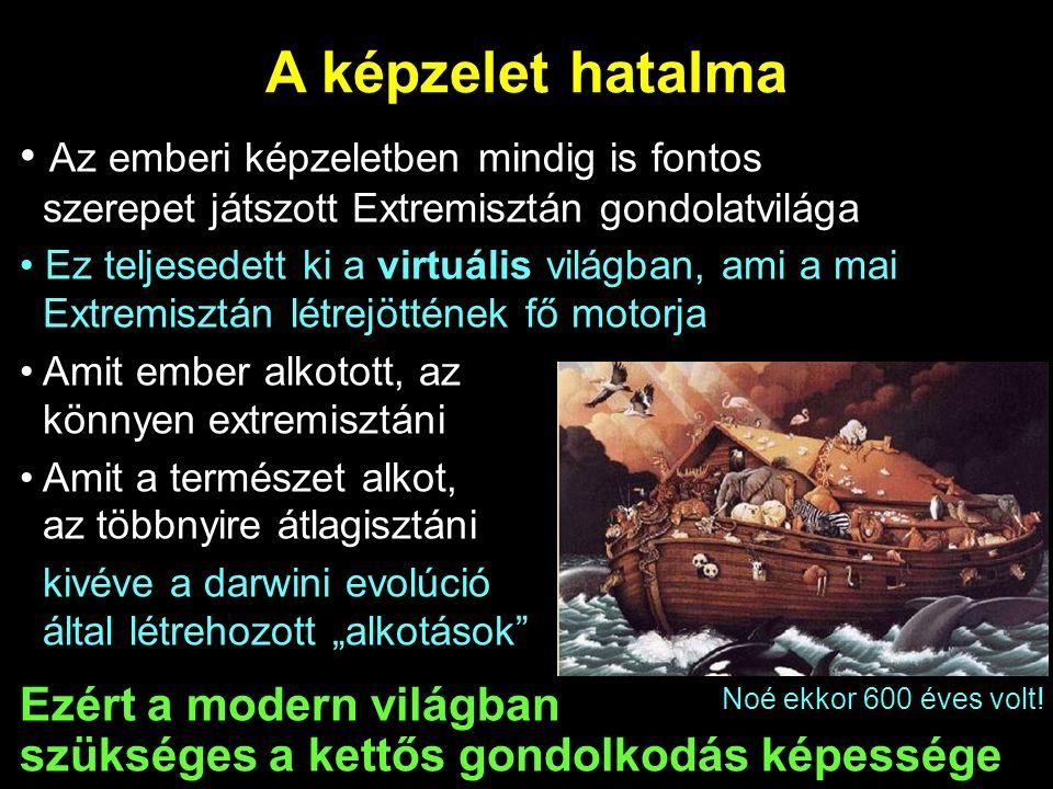 """A képzelet hatalma Az emberi képzeletben mindig is fontos szerepet játszott Extremisztán gondolatvilága Ez teljesedett ki a virtuális világban, ami a mai Extremisztán létrejöttének fő motorja Amit ember alkotott, az könnyen extremisztáni Amit a természet alkot, az többnyire átlagisztáni kivéve a darwini evolúció által létrehozott """"alkotások Ezért a modern világban szükséges a kettős gondolkodás képessége Noé ekkor 600 éves volt!"""