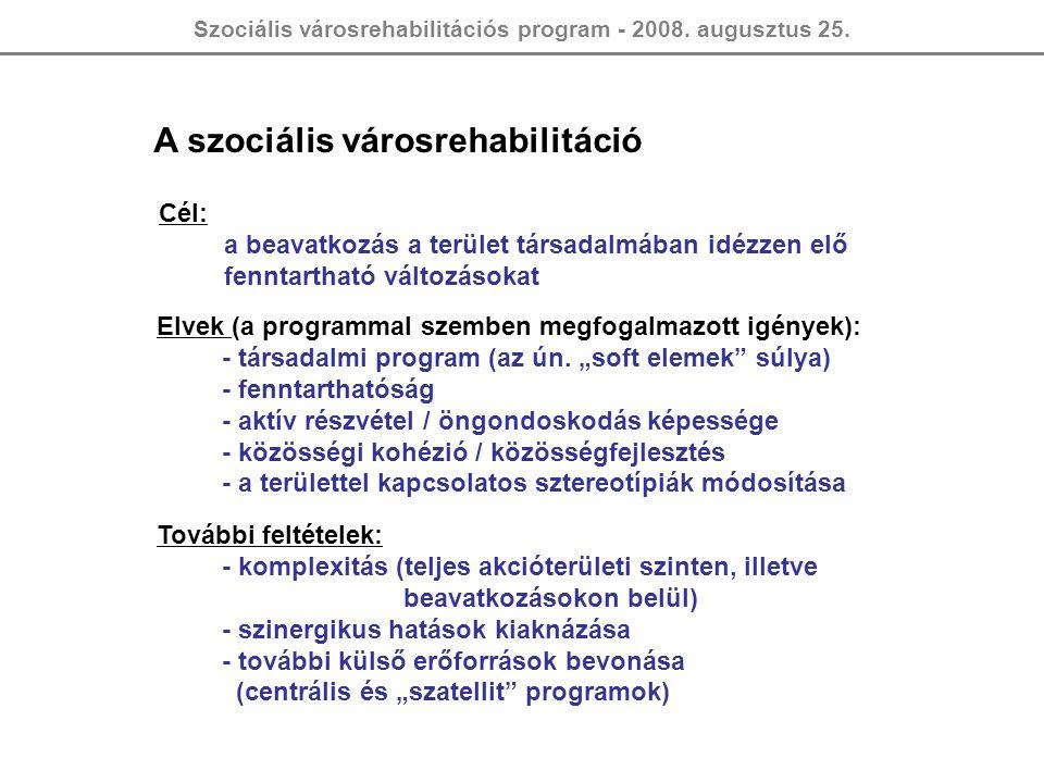Szociális városrehabilitációs program - 2008. augusztus 25. A szociális városrehabilitáció Cél: a beavatkozás a terület társadalmában idézzen elő fenn
