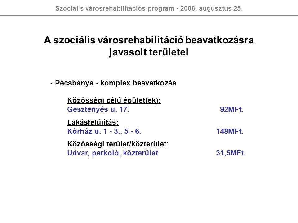 Szociális városrehabilitációs program - 2008. augusztus 25. A szociális városrehabilitáció beavatkozásra javasolt területei - Pécsbánya - komplex beav