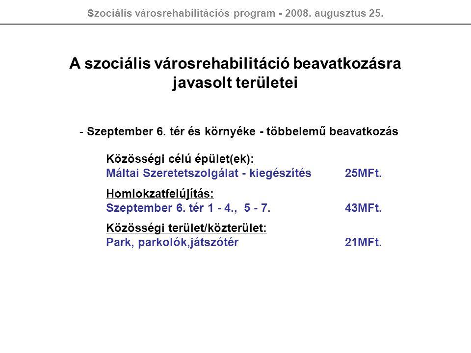 Szociális városrehabilitációs program - 2008. augusztus 25. A szociális városrehabilitáció beavatkozásra javasolt területei - Szeptember 6. tér és kör