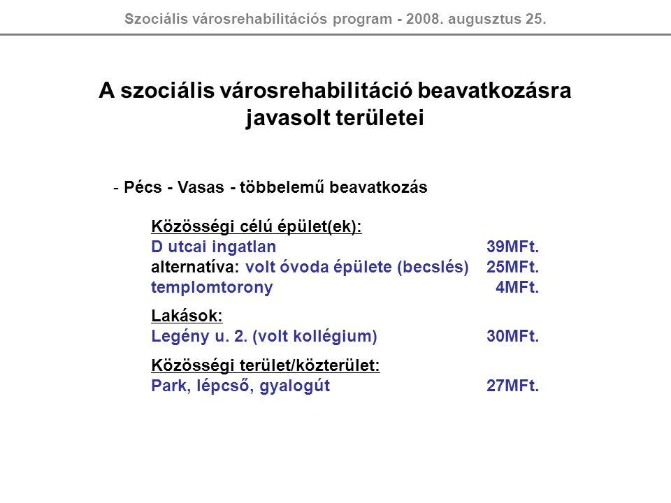 Szociális városrehabilitációs program - 2008. augusztus 25. A szociális városrehabilitáció beavatkozásra javasolt területei - Pécs - Vasas - többelemű