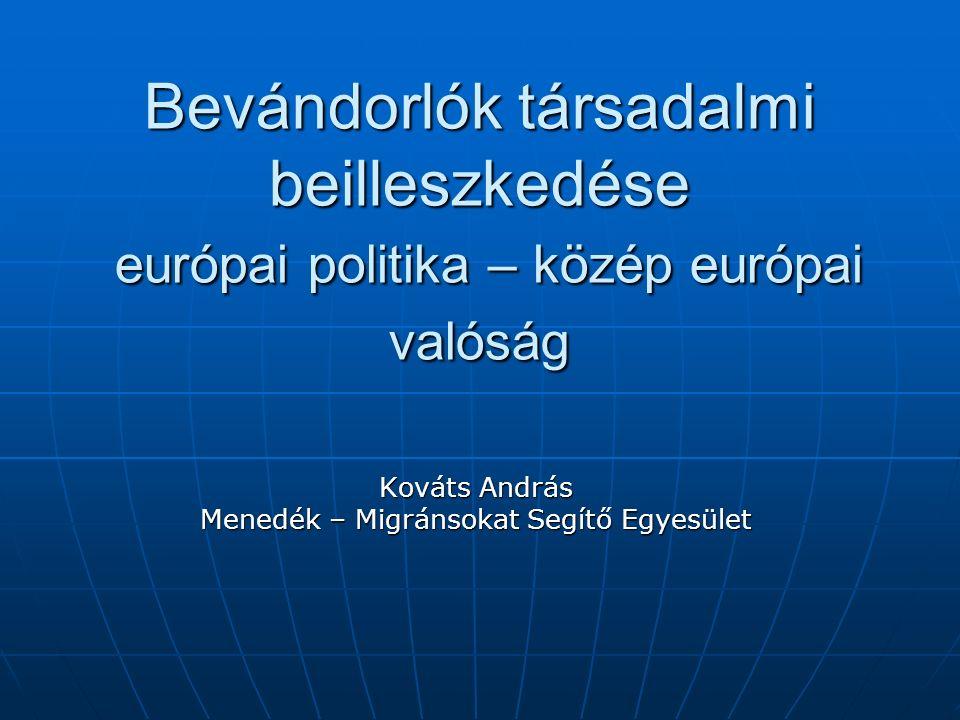 Bevándorlók társadalmi beilleszkedése európai politika – közép európai valóság Kováts András Menedék – Migránsokat Segítő Egyesület
